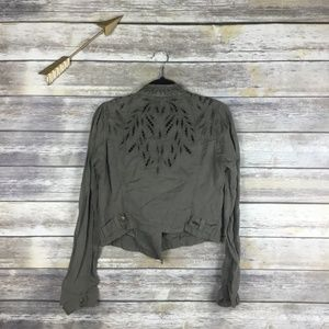 Free People Cutwork Back Lightweight Moto Jacket 6